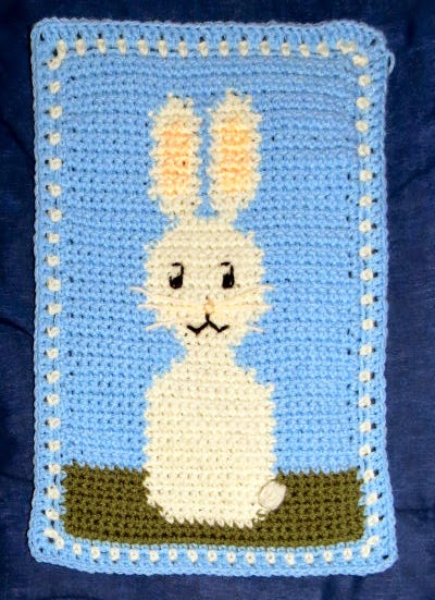 crocheted rabbit motif