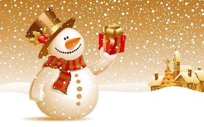 Un lindo muñeco de nieve con un regalo