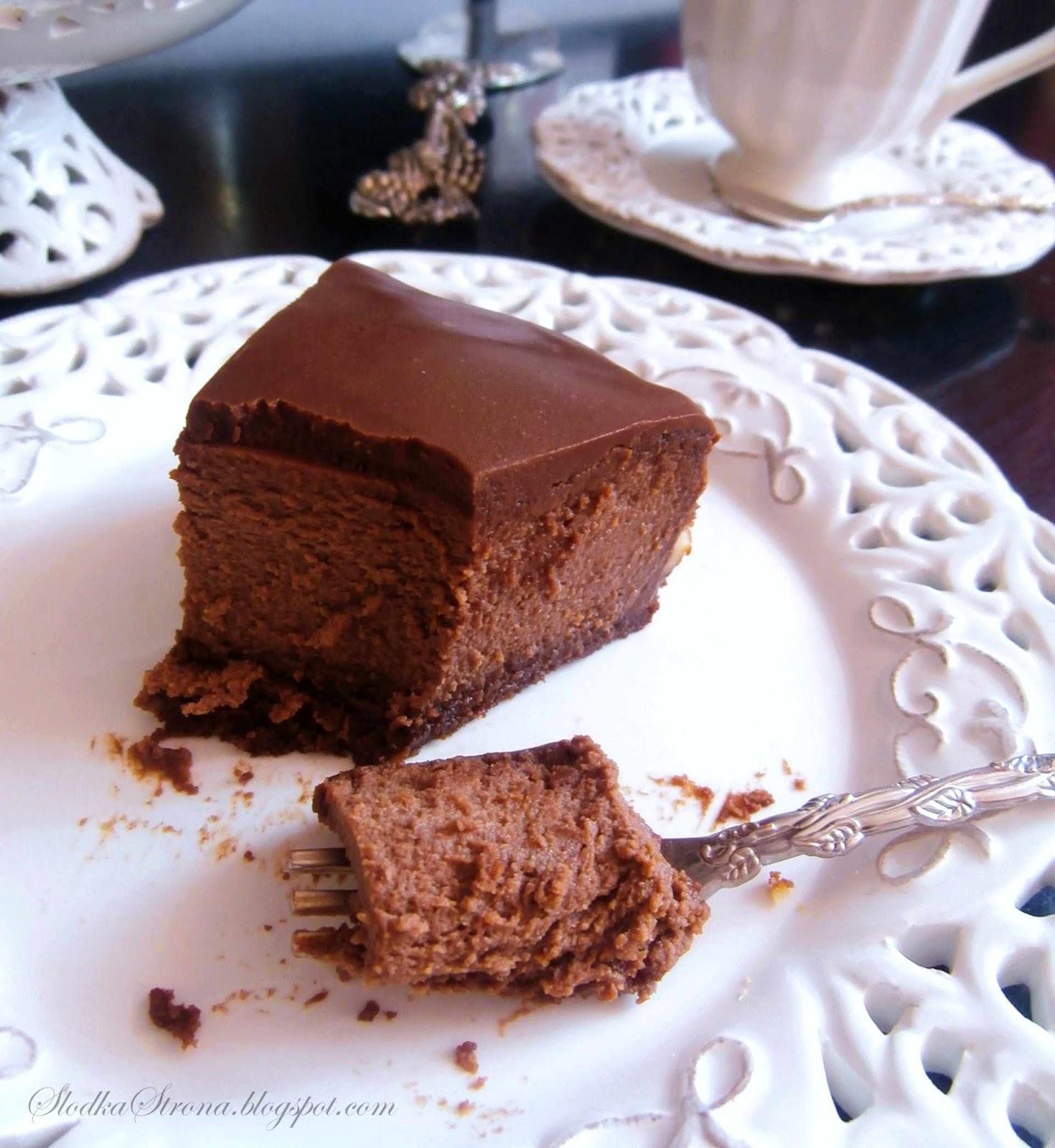 Rewelacyjny Czekoladowy Sernik ze spodem Brownies - Przepis - Slodka Strona