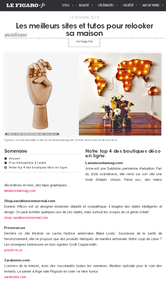 Madame Figaro's top 4 design shops online - including mine!
