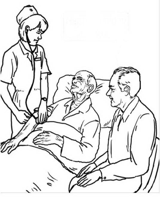 COLOREA TUS DIBUJOS: Enfermera cuidando anciano para colorear