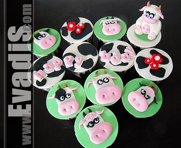 Cow cupcakes top view piture