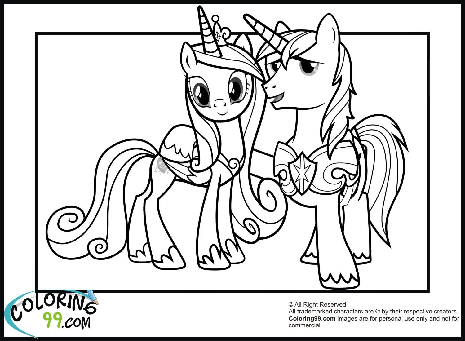 Shining Armor Coloring Pages Team Colors Princess Cadence Coloring Page Printable
