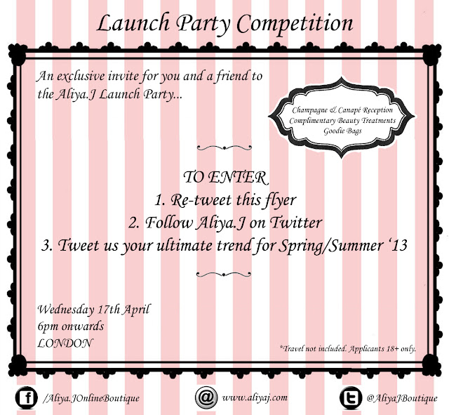 Flyer for the Aliya.J London launch party Twitter competition