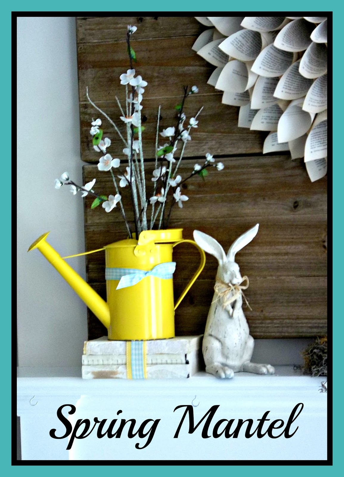 Vintage, Paint and more... vintage spring mantel with book page wreath