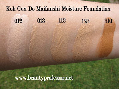 koh gen do maifanshi moisture foundation swatches