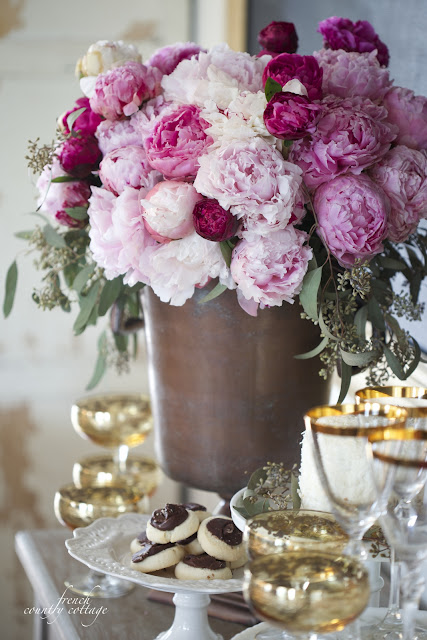 Peonies in container with NYE drink station