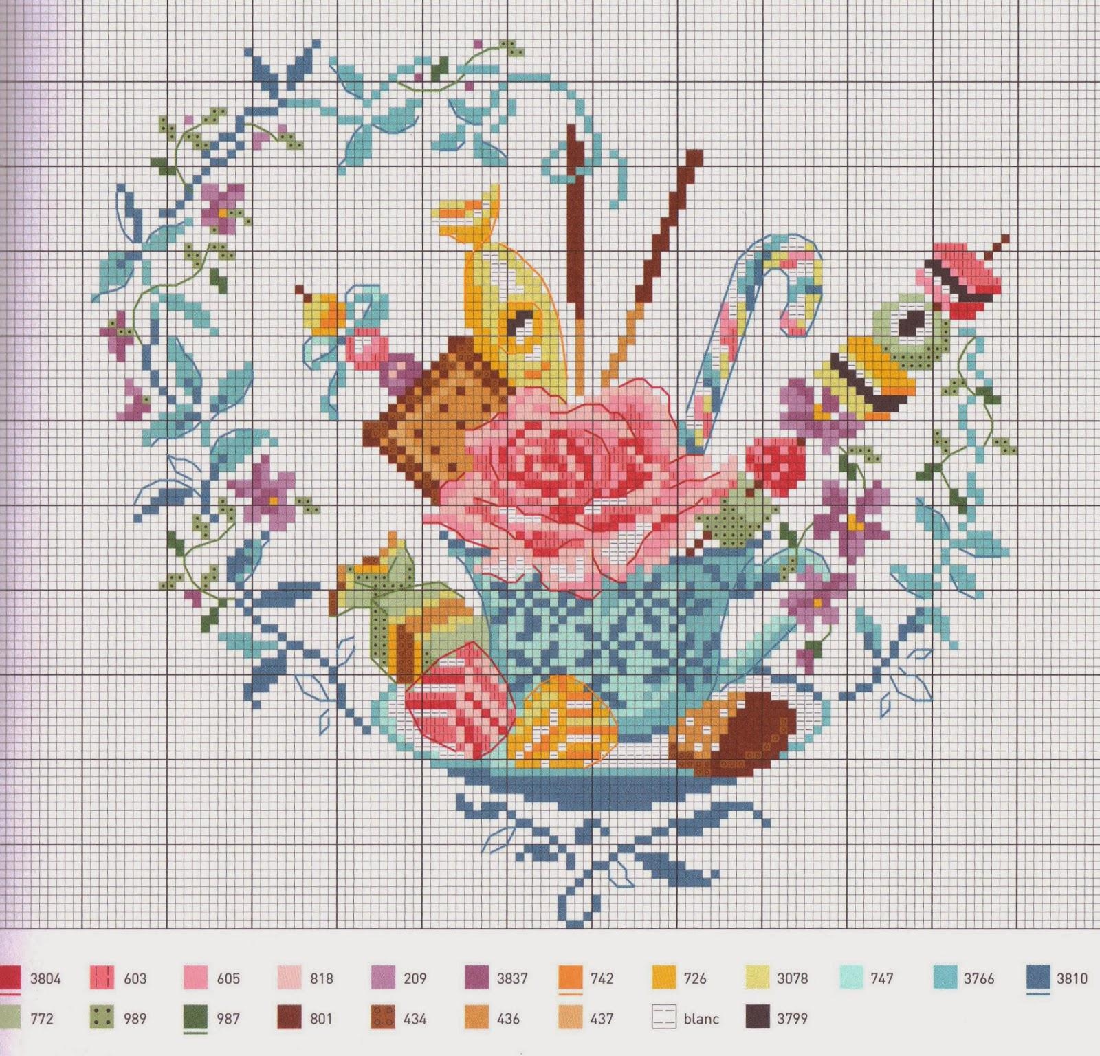 схема вышивки сердечек