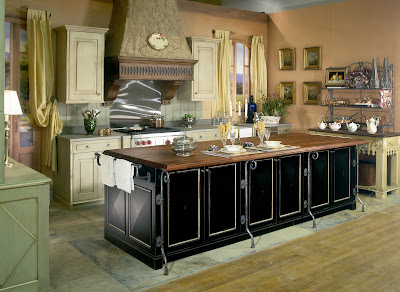country kitchen design in black and green with island decoration