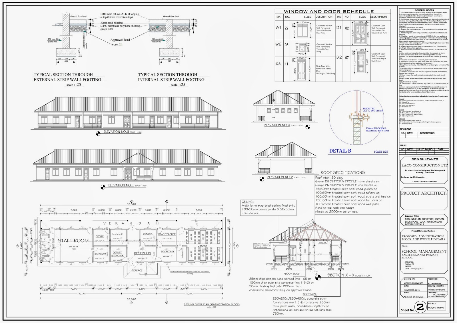 Administration block plan for new kasese humanist primary school