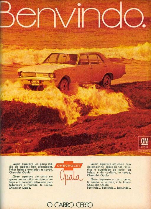 Propaganda de lançamento do Opala (Chevrolet) em 1969. Primeiro automóvel de passeio fabricado pela General Motors no Brasil.