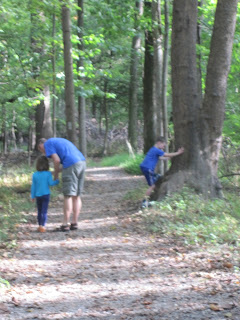Children and father walking in the woods
