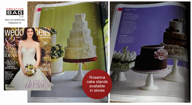 Creative Bag's cake stands by Rosanna featured in new Weddingbells magazine