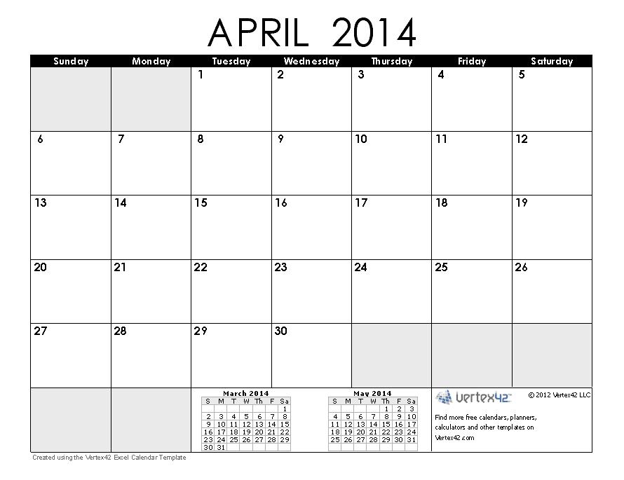 April 2014 Calendar Printable Printable Calendar 2014 Blank