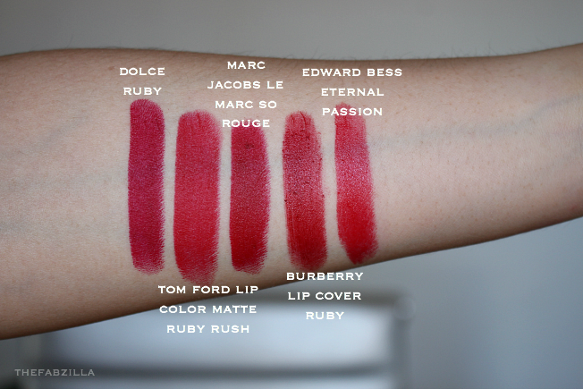 swatch dolce and gabbana matte lipstick dolce ruby, tom ford lip color matte ruby rush swatch, marc jacobs le marc so rouge