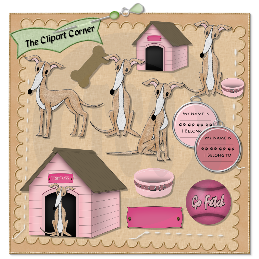 The Clipart Corner: Italian Greyhound in Dog House