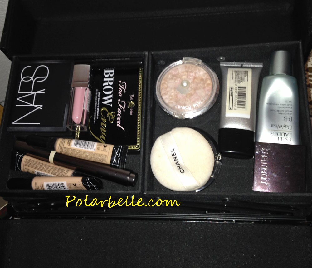Nars, Too Faced, brows, LA Girl Cosmetics, concealer, foundation, lipgloss, bronzer, blush