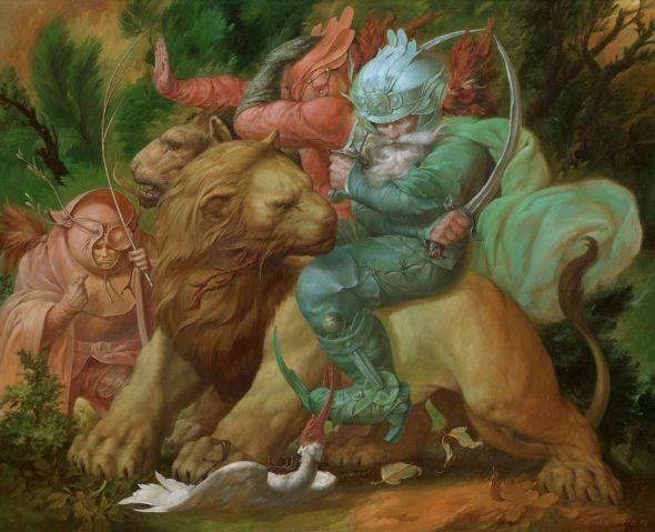 Viktor Safonkin pinturas surreais sombrias medievais mitológicas religião subconsciente Arautos dos feriados desesperados