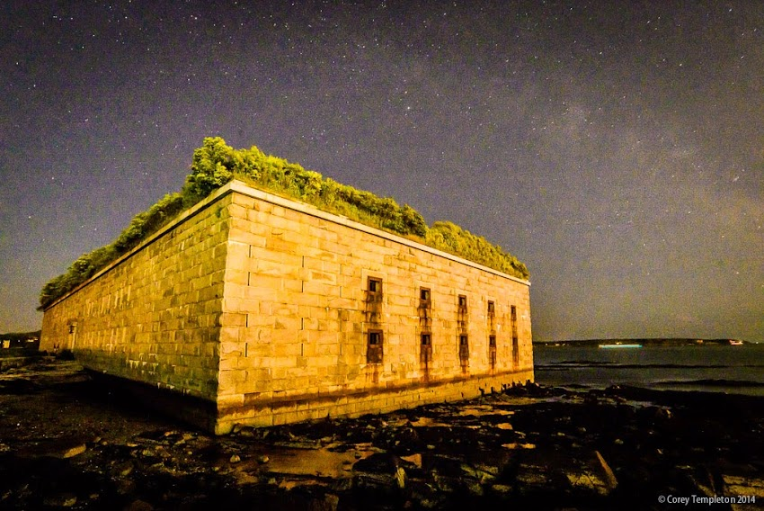 Portland, Maine USA New England Fort Gorges in Casco Bay at Night July 2014 Summer photo by Corey Templeton