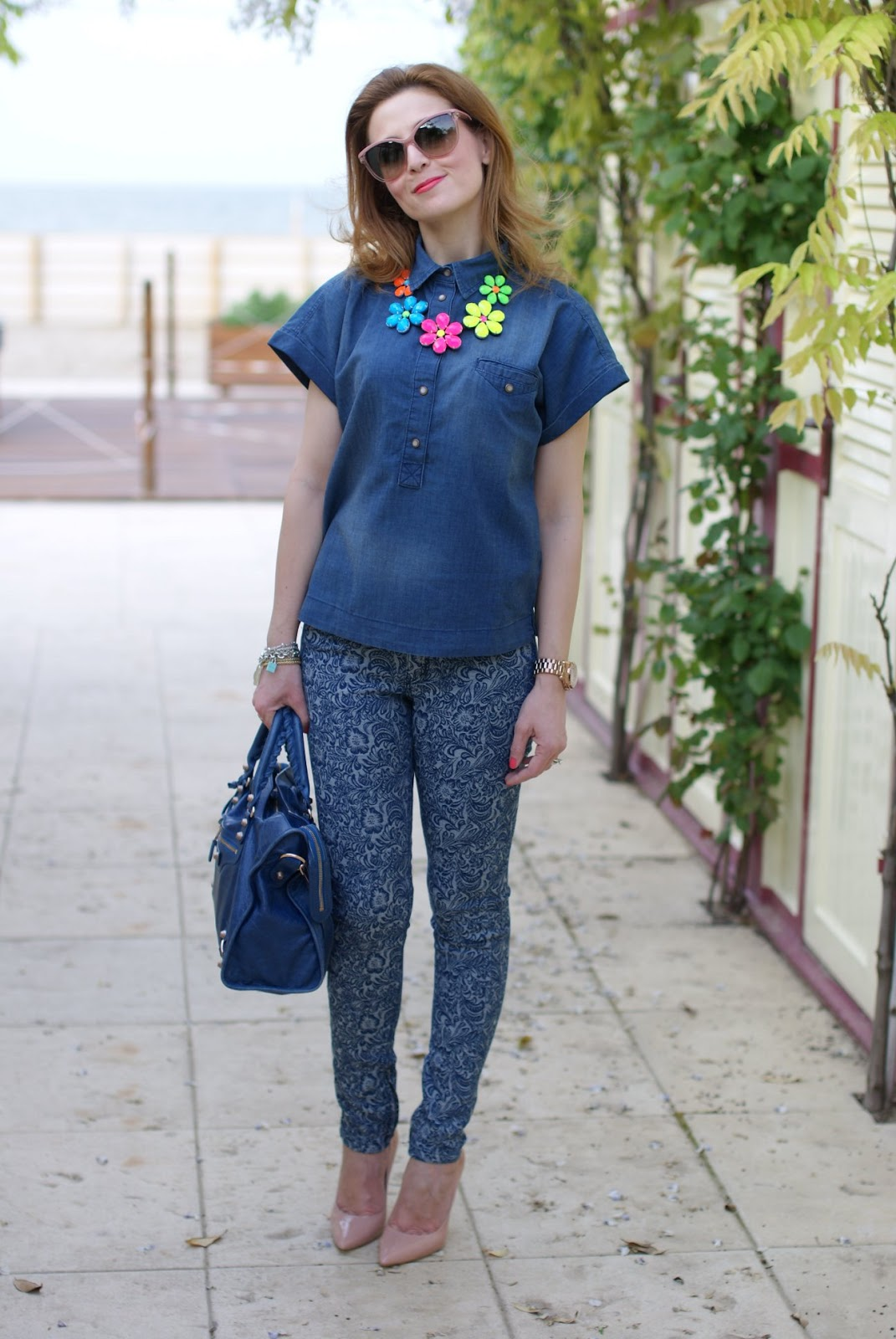 Indigo blue jacquard pants, cat eye sunglasses, Fashion and Cookies