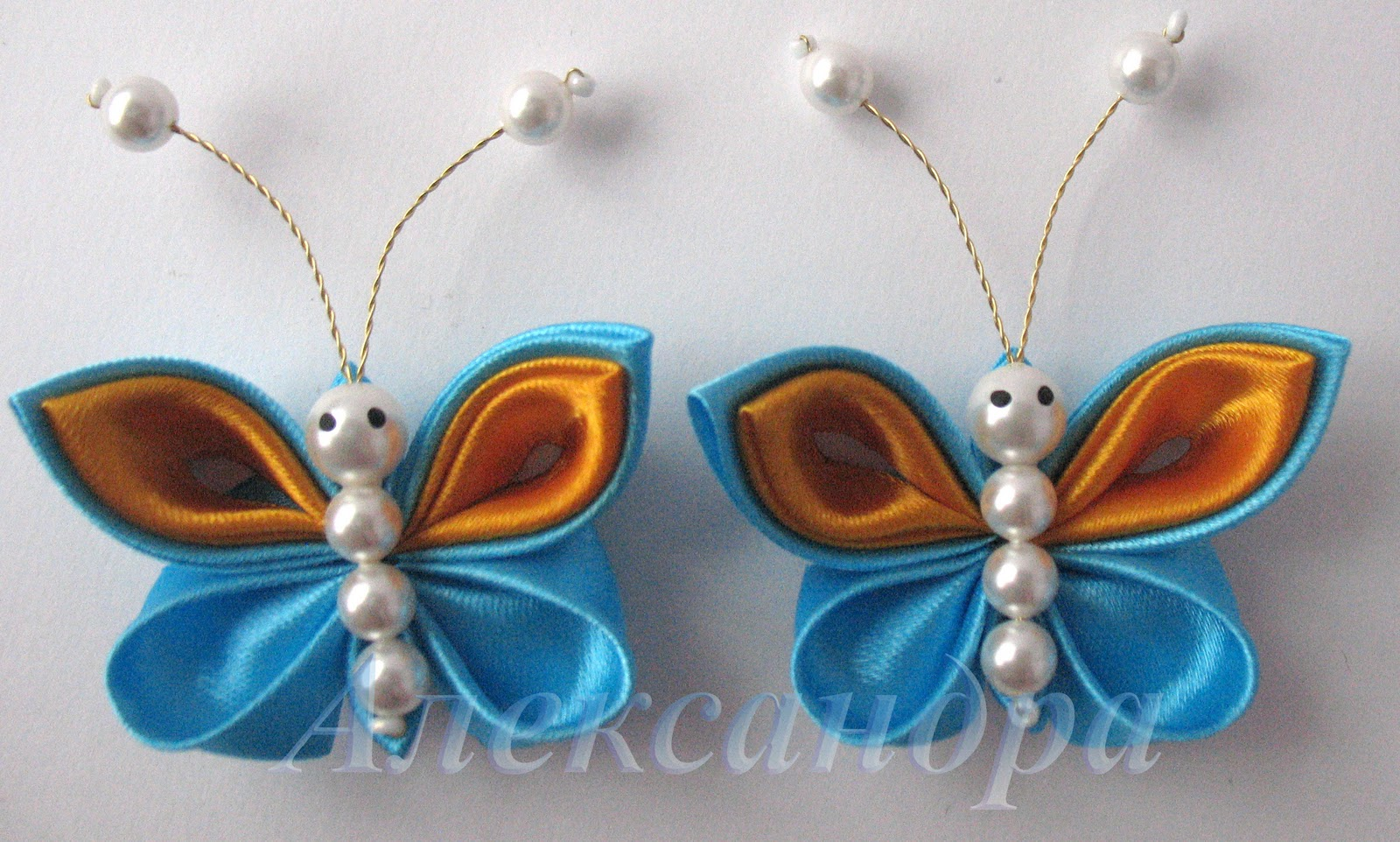 Бабочки канзаши из атласных лент своими руками