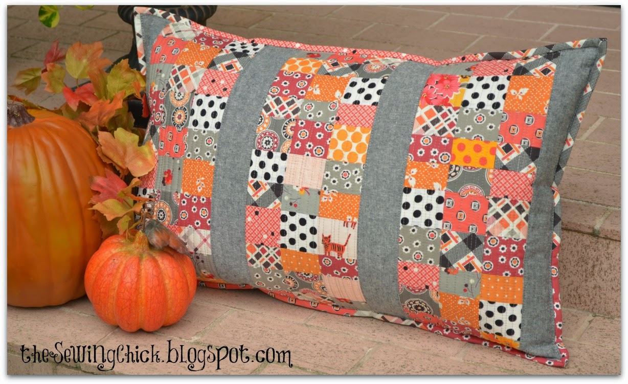 modern scrappy halloween patchwork pillow by the sewing chick