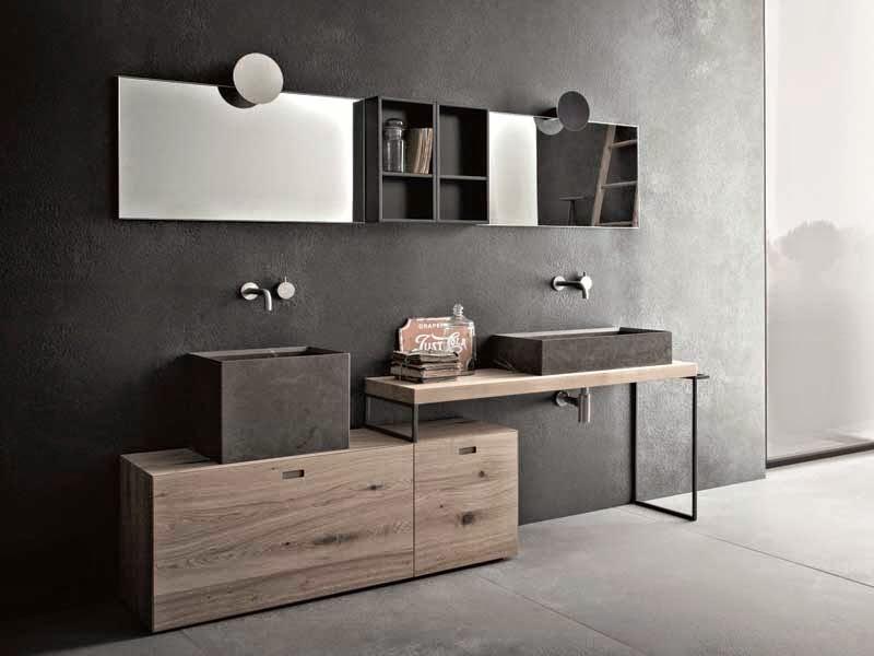 Baños Diseno Minimalista:En un cuarto de baño minimalista el espejo juega un papel importante