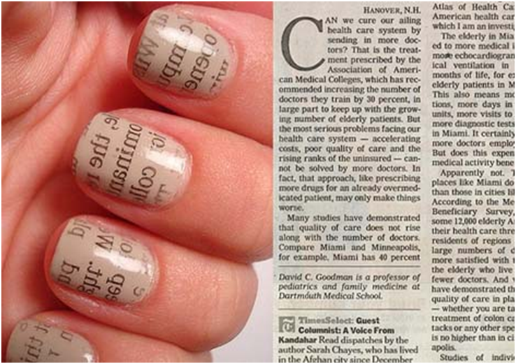 Xavier mah how can i get newspaper print nails for Step by step nail art designs at home