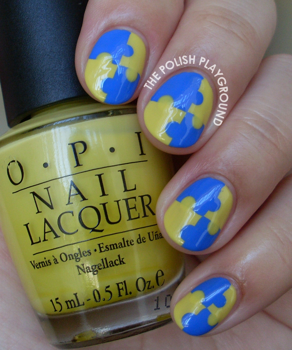 Yellow and Blue Interlocking Puzzle Nail Art