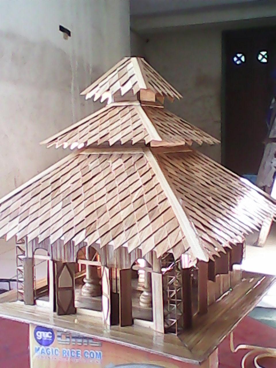 Panorama Indah Kerajinan Miniatur Masjid Agung Demak Dari Bambu