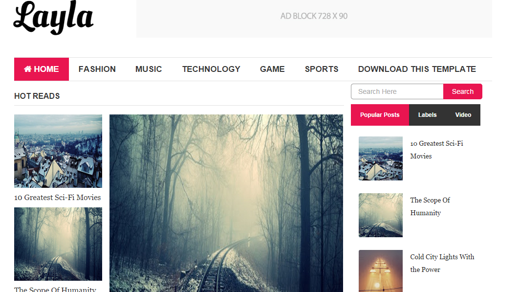 Download Layla Free Blogger Template