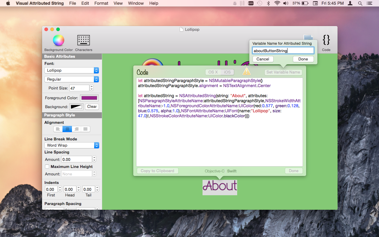 Visual Attributed String Mac App screenshot showing variable name popover.