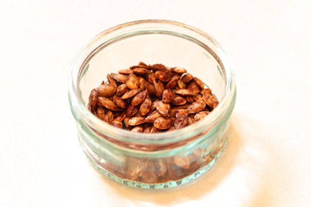 cinnamon and nutmeg coated seeds
