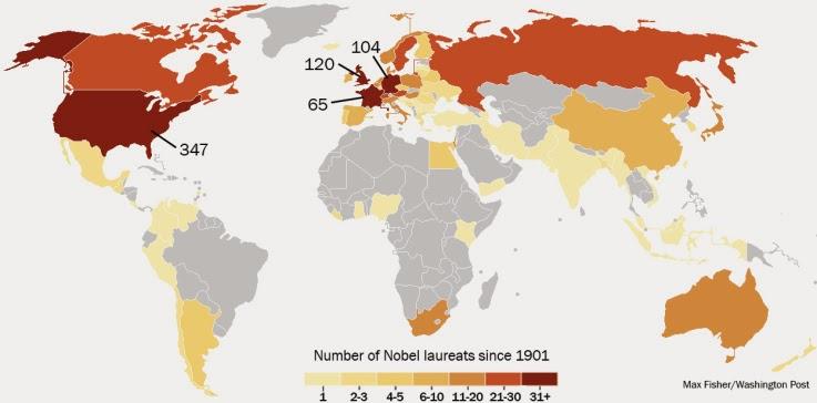 Prêmios Nobel por País - Um Asno