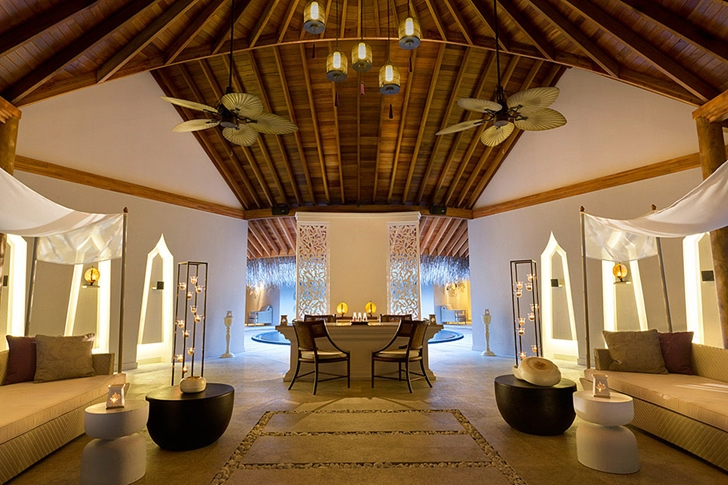 Interior of residence in Luxury Dusit Thani Resort in Maldives