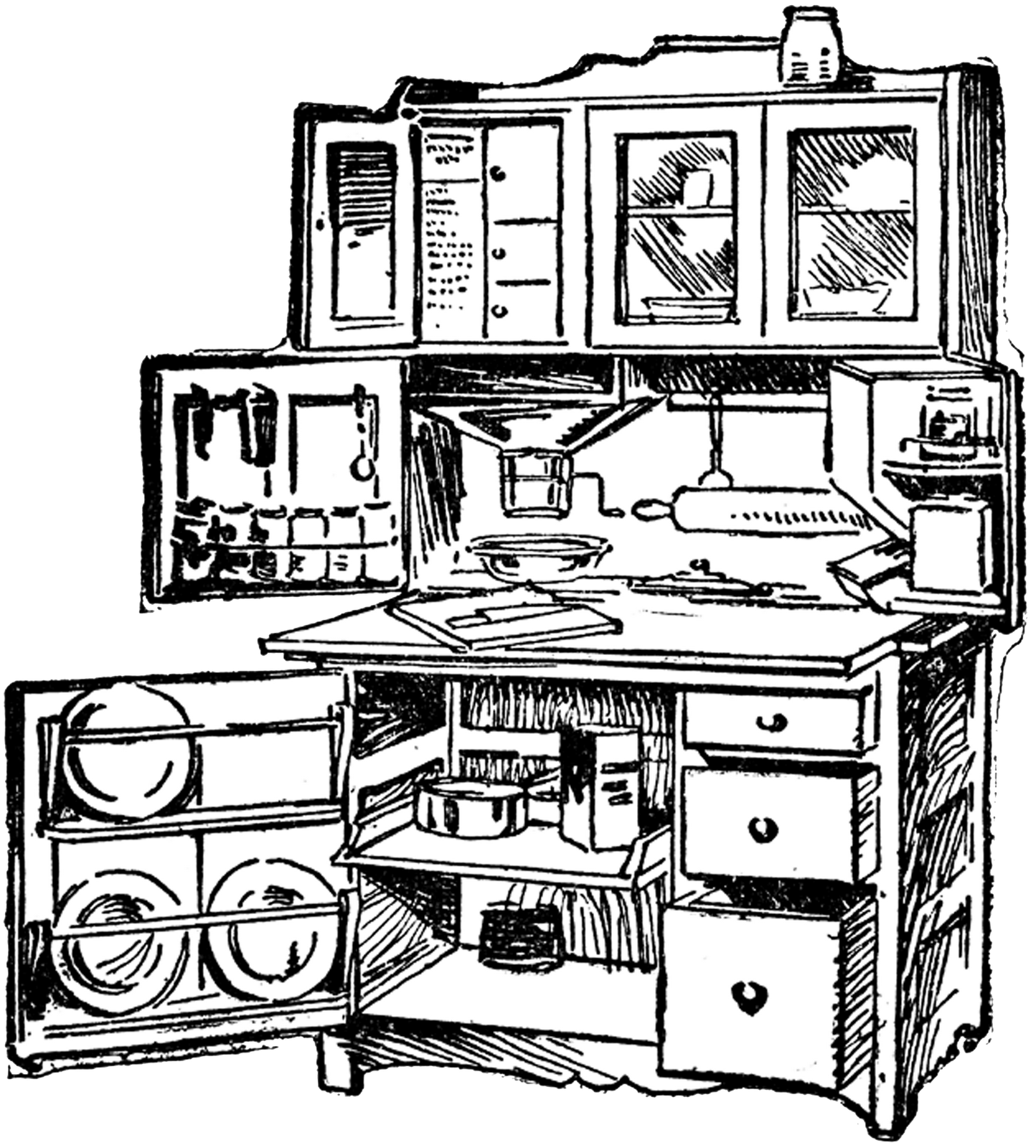 Clip Art Black and White Kitchen