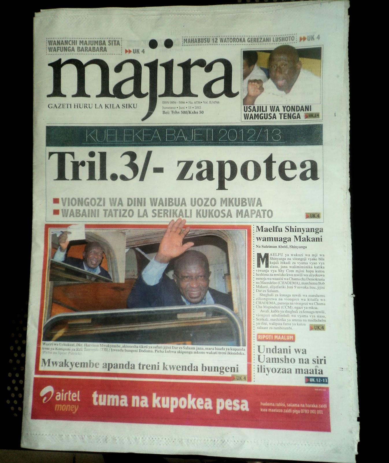 DELLA MEDIA PRODUCTION: MAGAZETI YA LEO MAJIRA,HABARI LEO NA NIPASHE