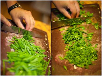 Режем зелень и зеленый лук