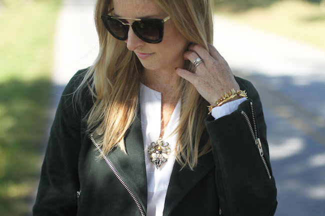 prada sunglasses, vita fede bracelet, jcrew necklace, topshop jacket