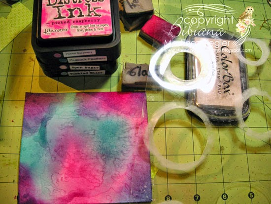 bokeh with distress inks happy birthday card step 1