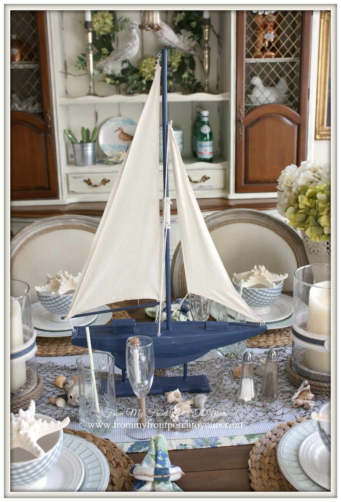 From my front porch to yours french farmhouse nautical for Dining table top decor