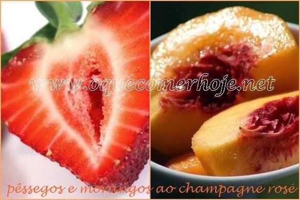 Sobremesas Rápidas: pêssegos e morango ao champagne rosé