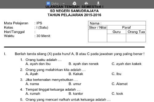 Soal Ulangan Kelas 2 Sd Semester 1 Newhairstylesformen2014 Com