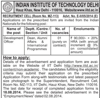 IIT Delhi Recruitment 2014 Development Officer, Engineers, Officers, Analyst