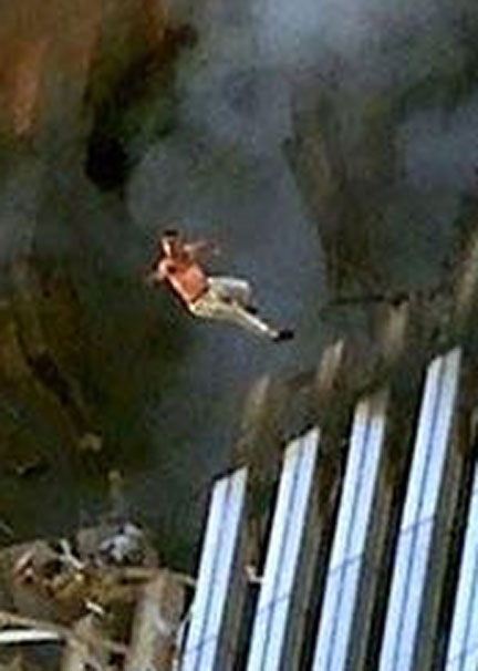 People jumping from the twin towers on the ground