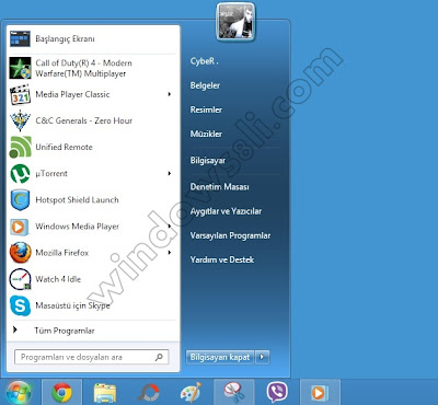 Windows 8 başlat menüsü StartIsBack