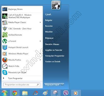 Windows 8 başlat menüsü StartIsBack
