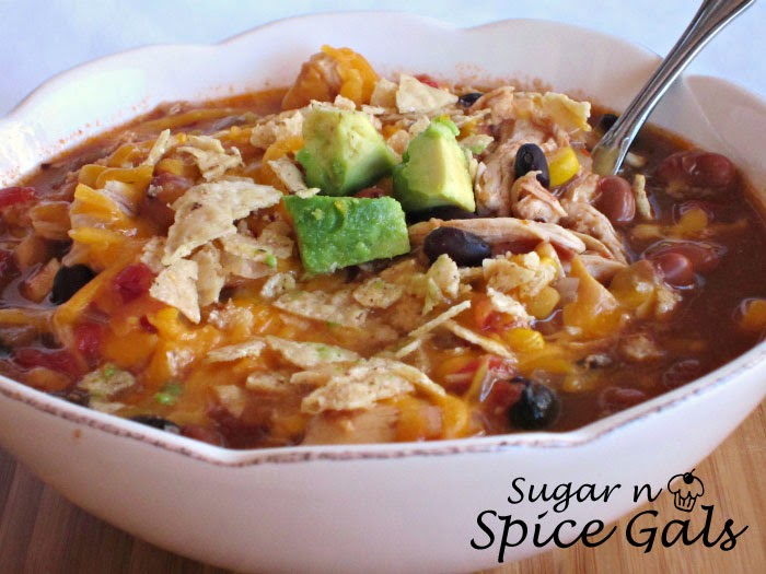 Slow Cooker Chicken Taco Soup - Sugar n' Spice Gals