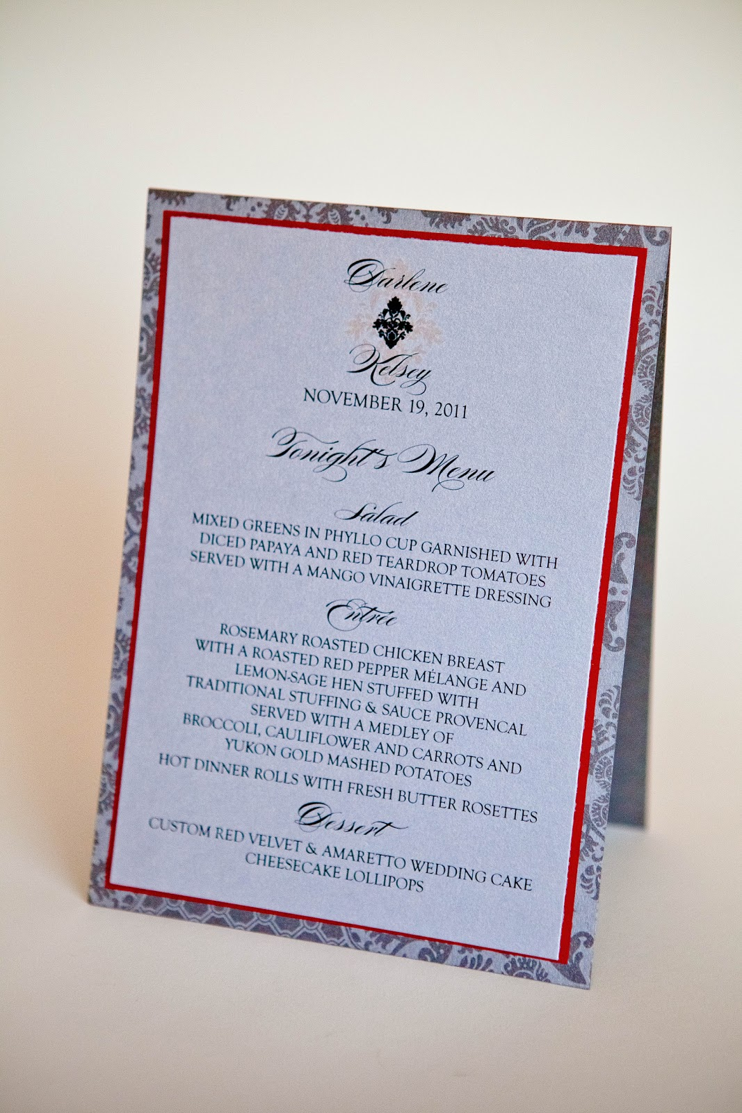Kindly r s v p designs 39 blog wedding menu tent card for Table 9 menu