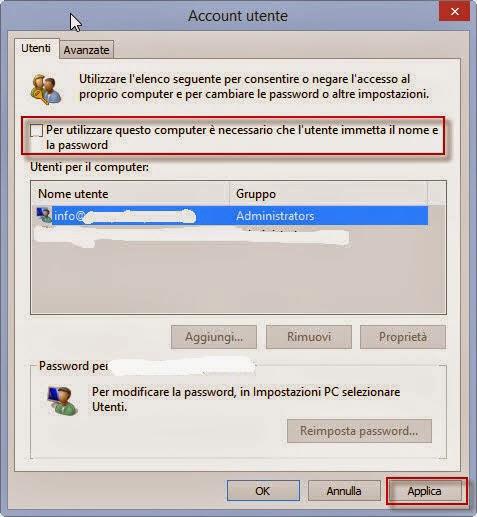 Rimuovi flag richiesta password - Windows 8.1
